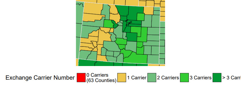 Number of carriers in each Colorado County
